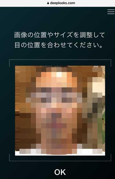 DeepLooksの画像サイズ調整画面