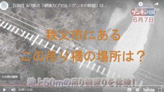 地上50mの吊り橋を上空から撮影