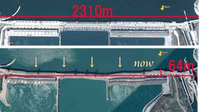 三峡ダムの歪みの大きさ