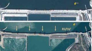 三峡ダムの歪みの証拠画像
